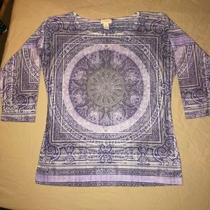 Soft Blingy Purple Chico's 3/4 Sleeve Top Size 0